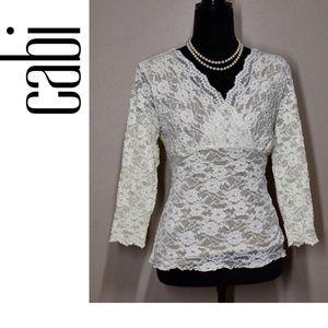 CAbi Ivory Lace Empire Crossover 3/4 Sleeve Top XL